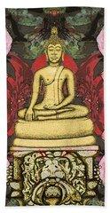 Golden Buddha In The Garden Beach Sheet