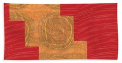 Beach Towel featuring the photograph Golden Circles Red Sparkle  by Navin Joshi