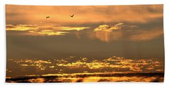 Beach Towel featuring the photograph Golden Clouds by AJ  Schibig