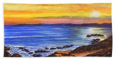 Beach Sheet featuring the painting Golden Cove by Darren Robinson
