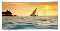 Golden Dhoni Sunset Beach Towel