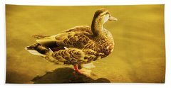 Beach Towel featuring the photograph Golden Duck by Nicola Nobile