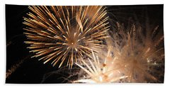 Golden Fireworks Beach Sheet by Rowana Ray