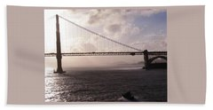 Beach Towel featuring the photograph Golden Gate And Bay Bridge by Jay Milo
