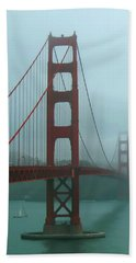 Golden Gate Bridge And Partial Arch In Color  Beach Towel