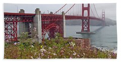 Golden Gate Bridge And Summer Flowers Beach Sheet