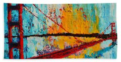 Golden Gate Bridge Modern Impressionistic Landscape Painting Palette Knife Work Beach Towel