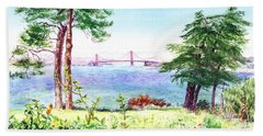 Golden Gate Bridge View From Lincoln Park San Francisco Beach Sheet