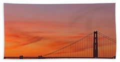 Golden Gate Sunset Beach Towel by Kate Brown