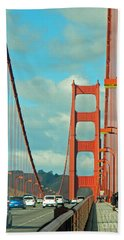 Beach Towel featuring the photograph Golden Gate Walkway by Emmy Marie Vickers