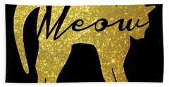 Golden Glitter Cat - Meow Beach Towel by Pati Photography