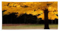 Golden Glow Of Autumn Fall Colors Beach Sheet by Jeff Folger