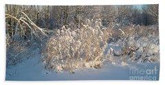 Golden Grass In Winter Sun With Snow Beach Towel