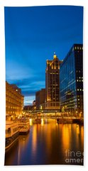 Golden Hour Milwaukee River Beach Towel