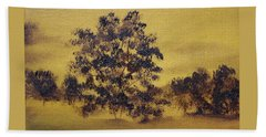 Beach Towel featuring the painting Golden Landscape by Judith Rhue