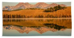 Golden Mountains  Reflection Beach Towel by Robert Bales