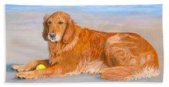 Beach Towel featuring the painting Golden Murphy by Karen Zuk Rosenblatt