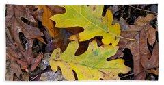 Golden Oak Leaf Duet Beach Sheet