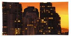 Beach Sheet featuring the photograph Golden Orange Cityscape Dccc by Amyn Nasser