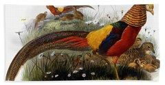 Golden Pheasants Beach Towel
