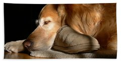 Golden Retriever Dog With Master's Slipper Beach Sheet