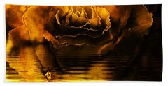 Golden Rose On The Lake Beach Towel