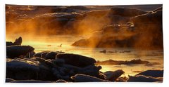 Golden Sea Smoke At Sunrise Beach Towel