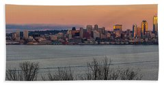 Golden Seattle Skyline Sunset Beach Towel
