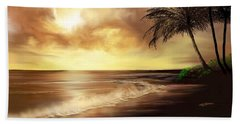 Beach Towel featuring the digital art Golden Sky Over Tropical Beach by Anthony Fishburne