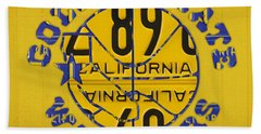 Golden State Warriors Basketball Team Retro Logo Vintage Recycled California License Plate Art Beach Towel