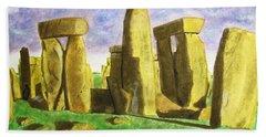 Golden Stonehenge Beach Towel