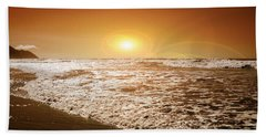 Beach Towel featuring the mixed media Golden Sunset by Aaron Berg
