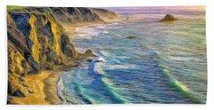 Golden Sunset At Big Sur Beach Towel