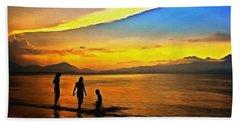 Golden Sunset Silhouettes Beach Towel
