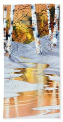 Beach Sheet featuring the painting Golden Winter by Teresa Ascone
