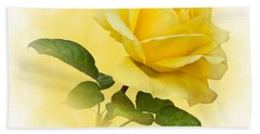 Golden Yellow Rose Beach Towel