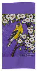 Goldfinch In Pear Blossoms Beach Sheet