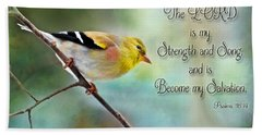 Goldfinch With Rosy Shoulder - Digital Paint And Verse Beach Sheet by Debbie Portwood