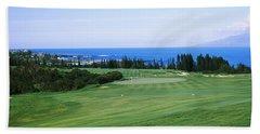 Golf Course At The Oceanside, Kapalua Beach Towel