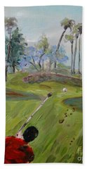 Beach Towel featuring the painting Golfing At Monarch by Maria Langgle