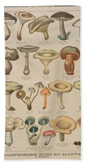 Good And Bad Mushrooms Beach Towel by French School
