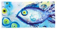 Good Luck Fish Abstract Beach Towel