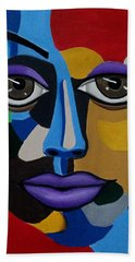 Colorful Illusion Abstract Face Art Painting, Big Brown Eye Art, Optical Artwork Beach Towel