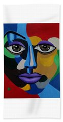 Google Me - Abstract Art Painting - Colorful Abstract Face - Ai P. Nilson Beach Sheet