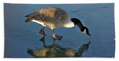 Goose On Ice Beach Towel