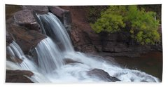Beach Towel featuring the photograph Gooseberry Falls In Slow Motion by James Peterson
