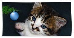 Gorgeous Christmas Kitten Beach Sheet by Terri Waters