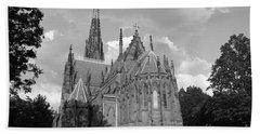 Gothic Church In Black And White Beach Sheet by John Telfer