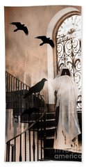 Gothic Grim Reaper With Ravens Crows - Spooky Haunting Surreal Gothic Art Beach Sheet by Kathy Fornal