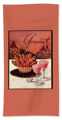 Gourmet Cover Featuring A Basket Of Potato Curls Beach Towel by Henry Stahlhut